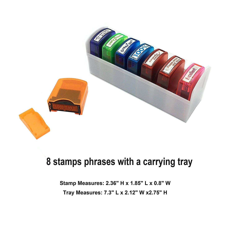 8 piezas Juego de sellos y bandeja para profesor de motivaci/ón de auto entintado colorido