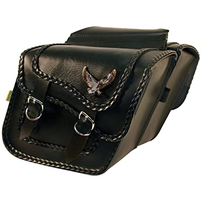 Dowco Willie & Max 58708-20 Black Magic Series: Synthetic Leather Compact Slant Motorcycle Saddlebag Set, Black, Universal Fit, 10 Liter Each/20 Liter Total Capacity: Automotive