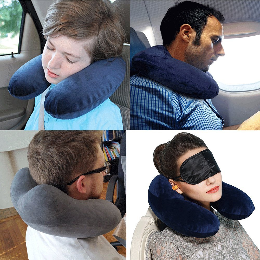 Travel Pillow, LIANSING Airplane Inflatable Travle Neck Pillow Push-Button Soft Velvet with Earbuds Goggles 3 in 1 and Straps for Office Airplane Travel Car Lunch Break