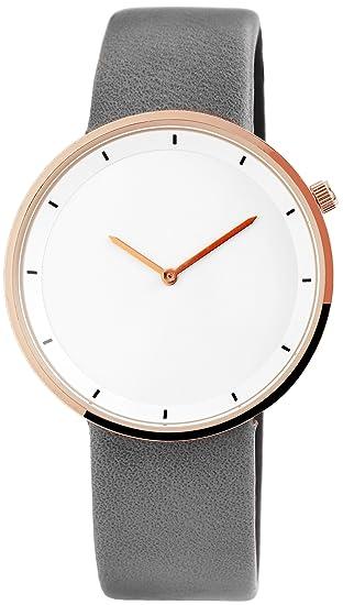 Reloj mujer piel blanco gris oro analógico de cuarzo reloj ...