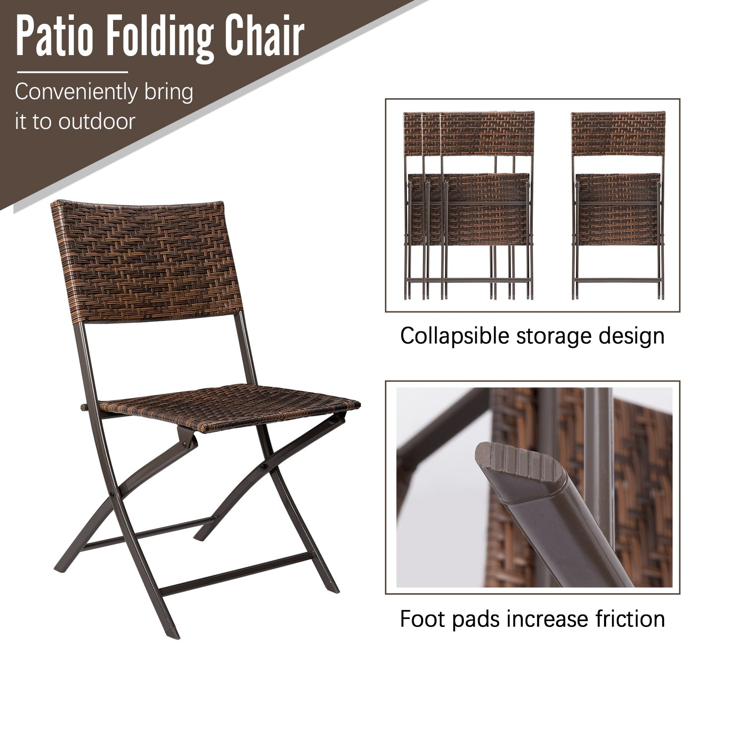 Devoko Rattan Patio Dining Chair 4 Pieces Space Saving Deck Camping Chairs Garden Pool Beach Lawn Using Outdoor Folding Chair (Brown) by Devoko (Image #4)