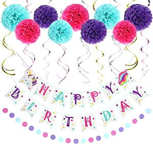 LITAUS Unicorn Birthday Decorations, Purple and Blue Happy Birthday Decorations for Women, Happy Birthday Banner, Hanging Swirls, Paper Garland and Flowers for Kids Dini Party, Party Decorations