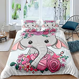Cute Elephany Baby Cartoon Print Comforter Cover Teen Boys Young Girls Floral Elephant Kids Room Decor Comforter Cover Sets Full Flowers Garden Lovely Animal 3 Pieces Duvet Sets