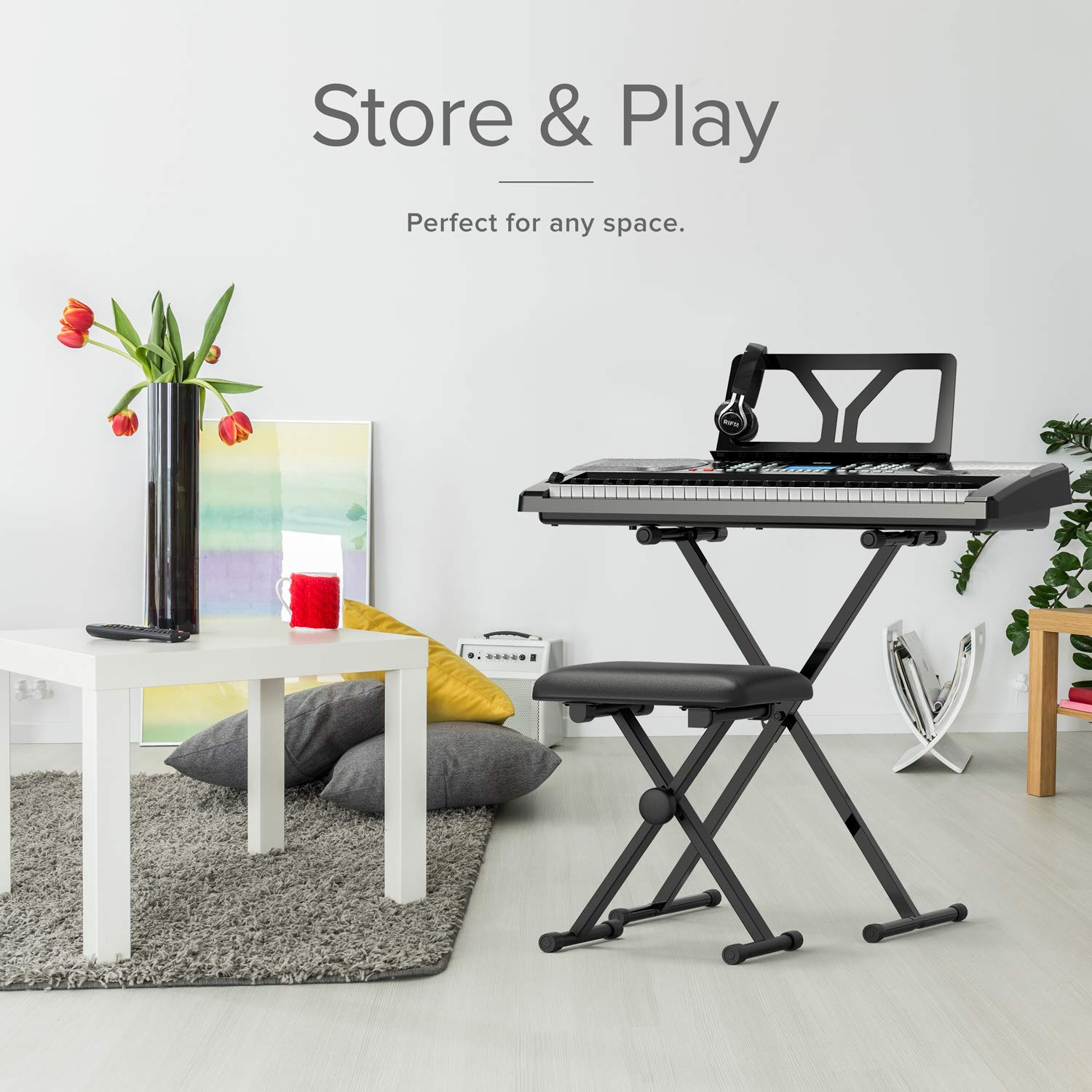 RIF6 Electric 61 Key Piano Keyboard - with Over Ear Headphones, Music Stand, Digital LCD Display, Teaching Modes and Adjustable Stool - Electronic Musical Instruments Starter Set for Kids and Adults by RIF6 (Image #9)