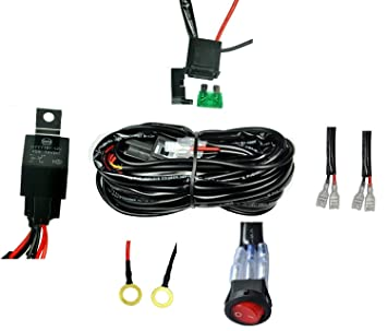 amazon com cutequeen wiring harness kit 40 amp relay on off switch off road wiring harness cutequeen wiring harness kit 40 amp relay on off switch for off
