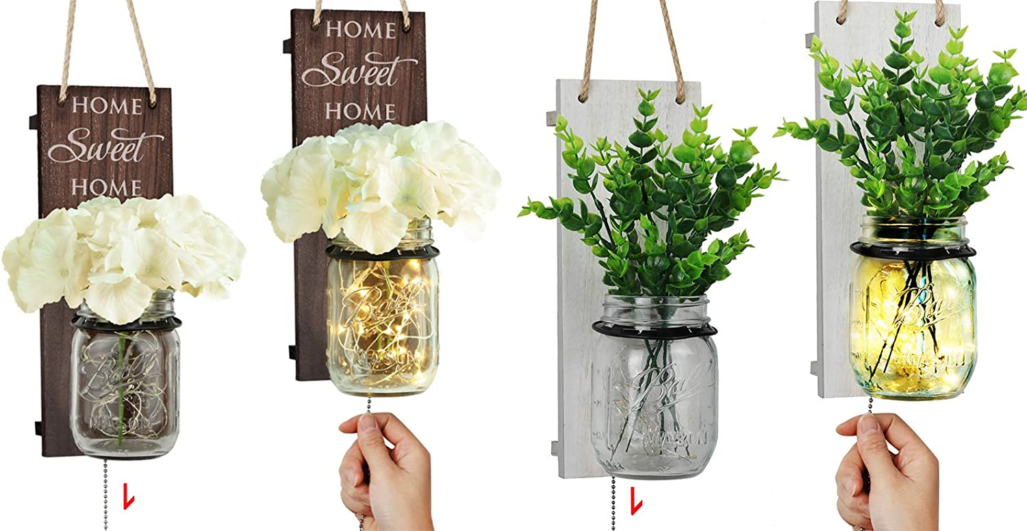 TJ.MOREE Mason Jar Wall Sconce for Home Decor - 2 Color Set - Rustic Brown and White