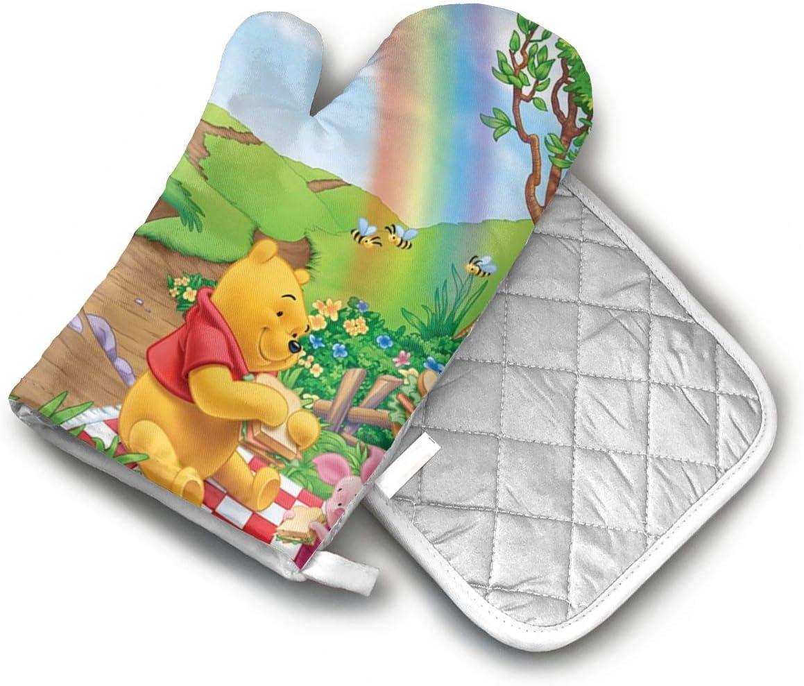 AISDHAJKSD Pooh Bear, Tigger, Princess Peach Premium Terylene/Nylon Oven Mitts and Pot Mat,Pot Mat/Hot Pads, Heat Resistant Gloves BBQ Kitchen