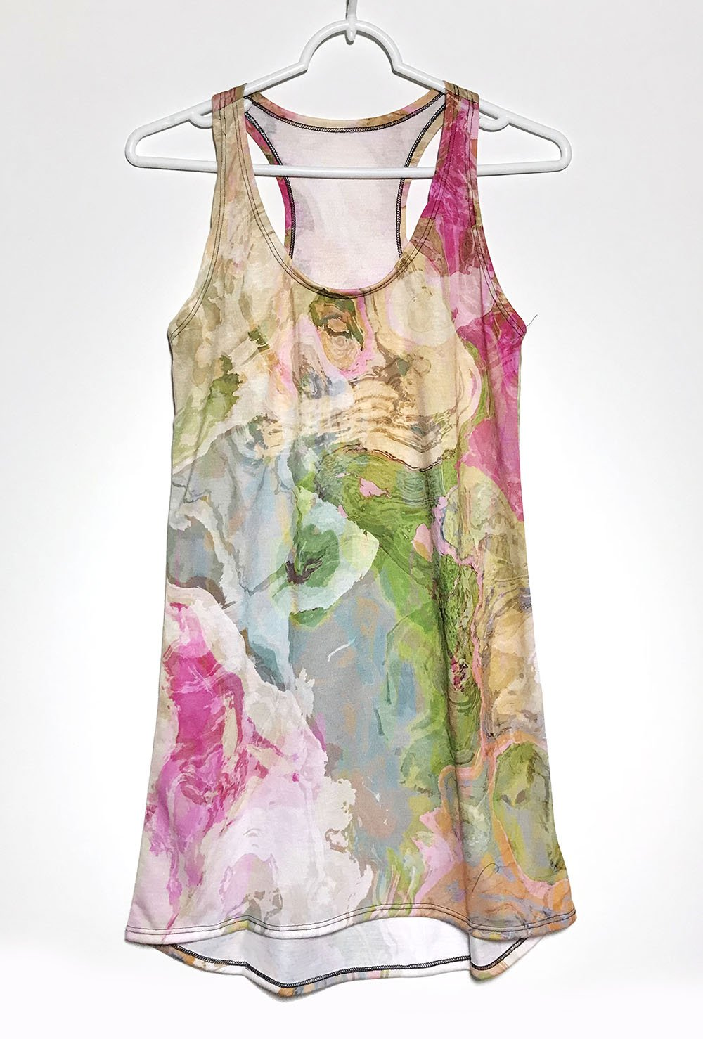 Racerback Mini Dress with wearable abstract art in pink, green and blue, Dreamgirl