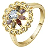 Jixin4you Women Gold Plated CZ Crystal Flower