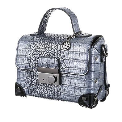 Damen Tasche, Schultertasche, Kleine Handtasche, Kunstleder, Blau, TA-4340-88A Ital-Design