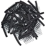 Golden Rule Stainless Steel 40 Pcs Tooth Comb Wrapped Wig Combs for Wig Caps Glueless Wig Clips (Black)