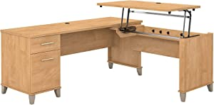 Bush Furniture Somerset 3 Position Sit to Stand L Shaped Desk, 72W, Maple Cross