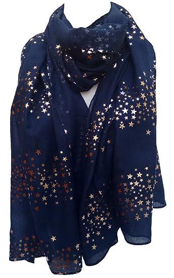 fbda0fb1fae39 GlamLondon Galaxy Scarf Rose Gold Glitter Foil Stars Print Ladies Party  Wedding Fashion Wrap (Blue