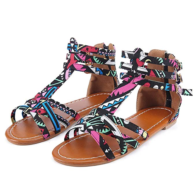 6ec2641e3 ANJUNIE Women s National Wind Bohemian Style Large Size Contrast Flat  Sandals Beads Coin Back Zip Thong