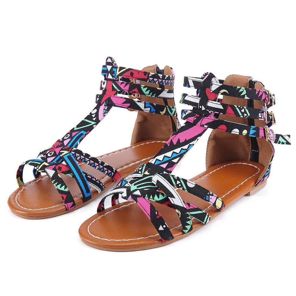 Orangeskycn Summer Boho Women Sandals Bohemian National Sandals Large Size Retro Roman Peep Toe Hollow Contrast Sandals Black by Orangeskycn Women Sandals (Image #2)