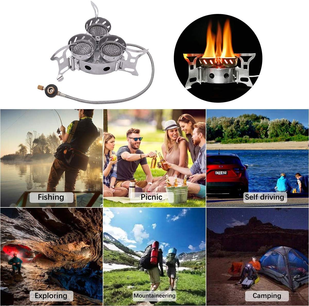 Estufa de Camping Gas Plegable, Hornillos portátiles Tres Núcleos Quemador de Cocina Estufa de Horno Dividida a Prueba de Viento con Encendido ...
