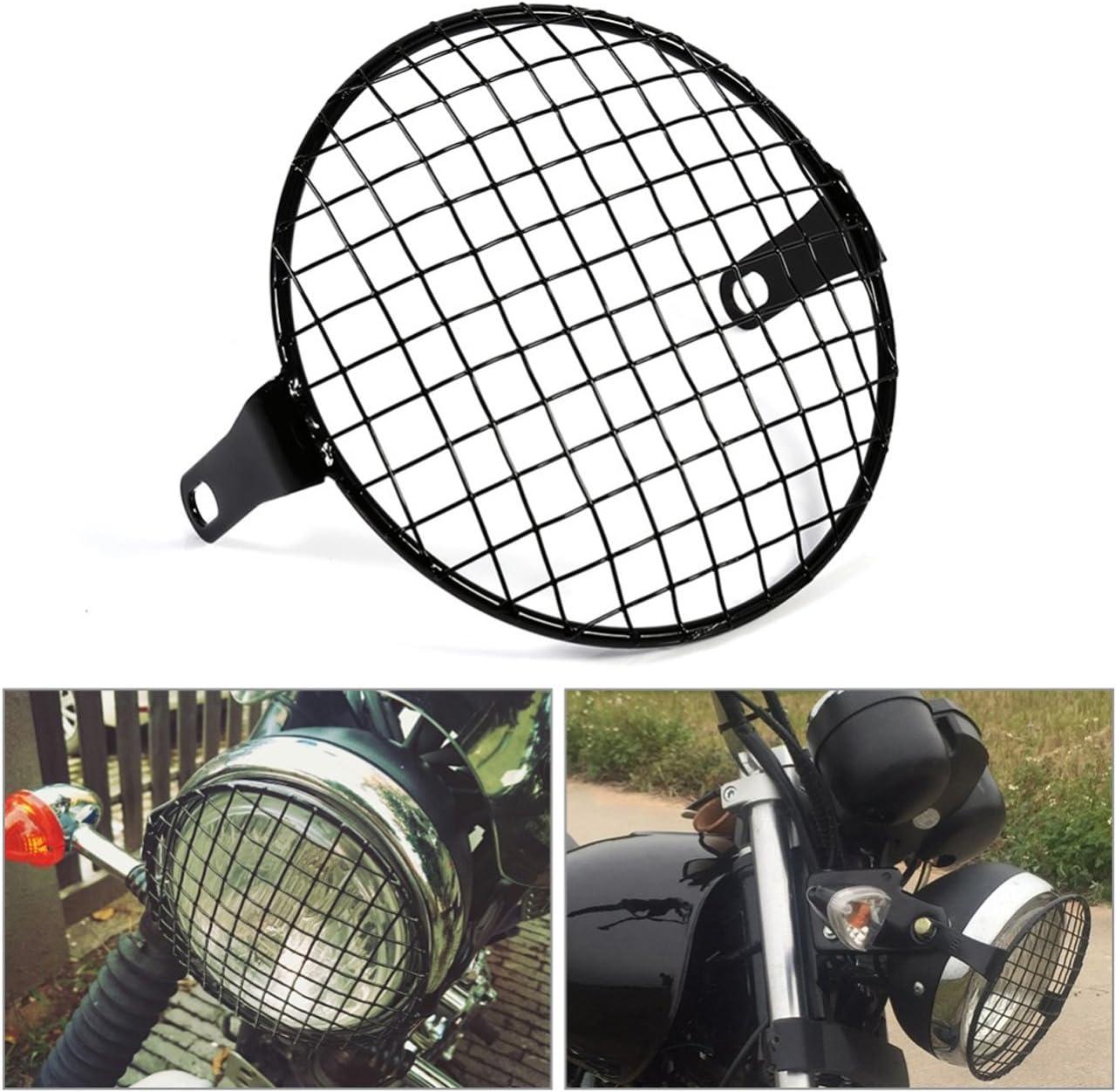 NATGIC Metal Motorcycle Headlight Grill Universal 7 Headlight fit 8mm-10mm side mount Screw