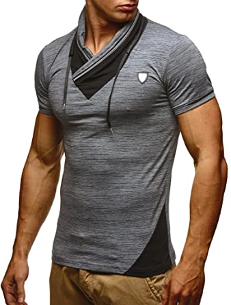 d29ce318b85a LEIF NELSON Herren T-Shirt Sommer modernes Kurzarm-Shirt Top Sweatshirt  Stehkragen Hoodie Sweater Basic Vintage Slim Fit LN805  Amazon.de   Bekleidung
