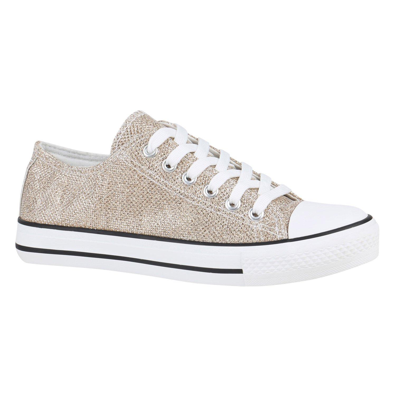 Stiefelparadies Unisex Damen Herren Sneaker Glitzer Low Übergrößen Flandell Gold Glitzer Sneaker 04173d