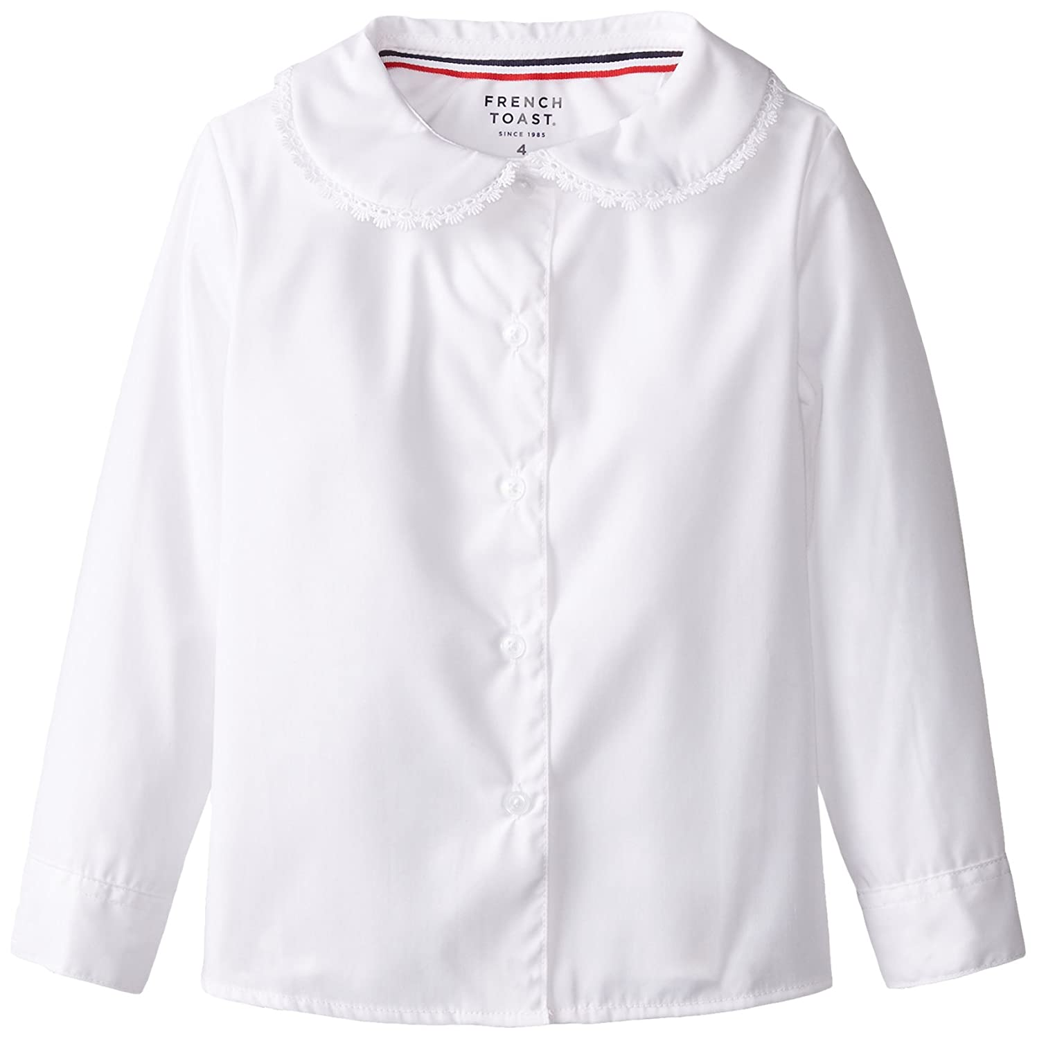 French Toast Little Girls' Long Sleeve Peter Pan Blouse With Lace Trim White 4