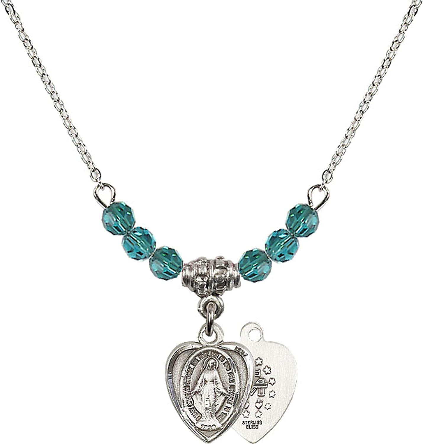 Bonyak Jewelry 18 Inch Rhodium Plated Necklace w// 4mm Blue December Birth Month Stone Beads and Miraculous Charm