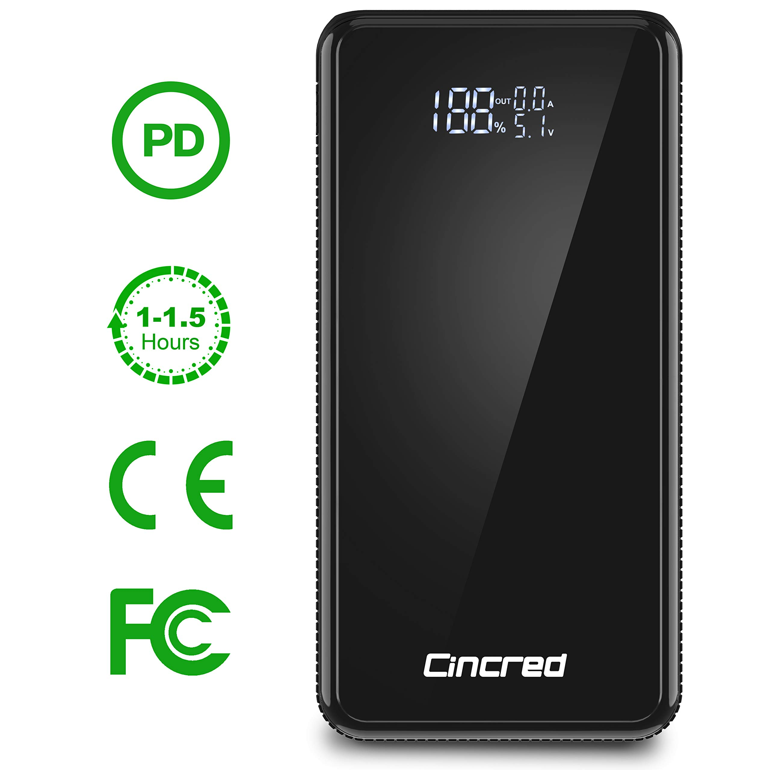 Updated 2019 Version PD Power Bank 20000mah USB C Power Delivery (18W) Portable Phone Charger, Ultra High Capacity Power Bank with 5.1A Output, External Battery Pack for iPhone, iPad, Samsung by Cincred