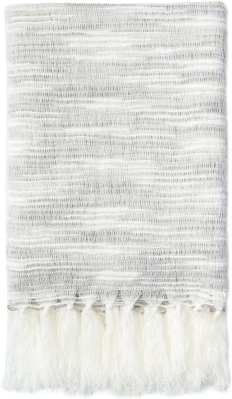 """Hofdeco Modern Decorative Knitted Throw Blanket with Fringe for Couch Sofa, 50"""" x 60"""", Gray and White"""