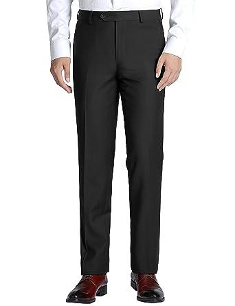 0eab6156d Chama Men s Slim Fit Flat Front Non-Iron Dress Pants Suit Separate Pants –  Unhemmed