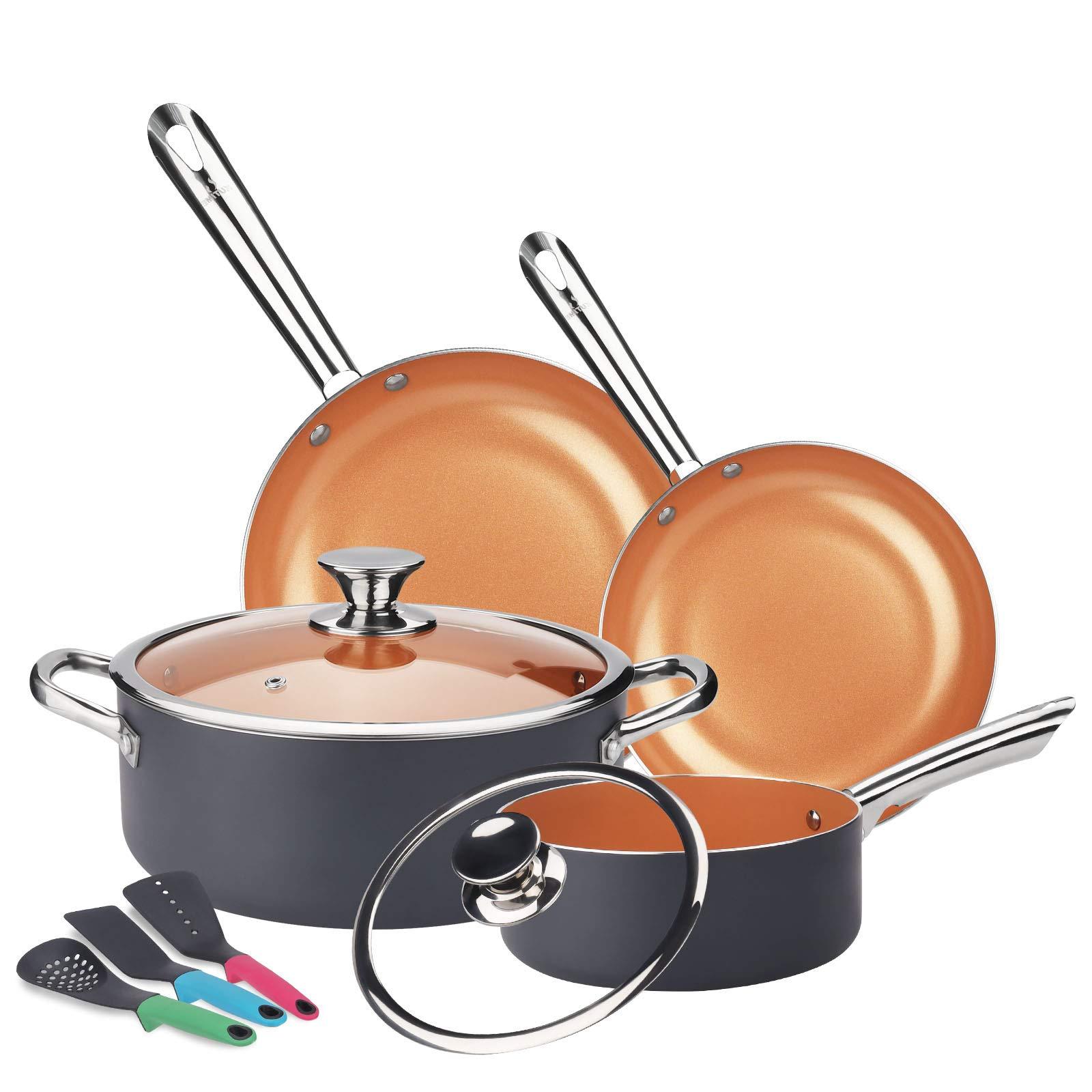 KUTIME Cookware Set 9pcs Non-Sick Pots and Pans Set Ceramic Coating Frying Pan Grill Pan Sauce Pan Stockpot with Lids…