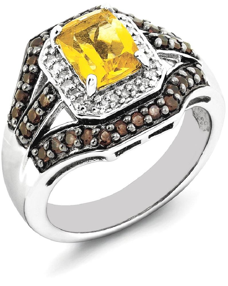 IceCarats 925 Sterling Silver Yellow Citrine Smoky Quartz Diamond Band Ring Size 7.00 Gemstone