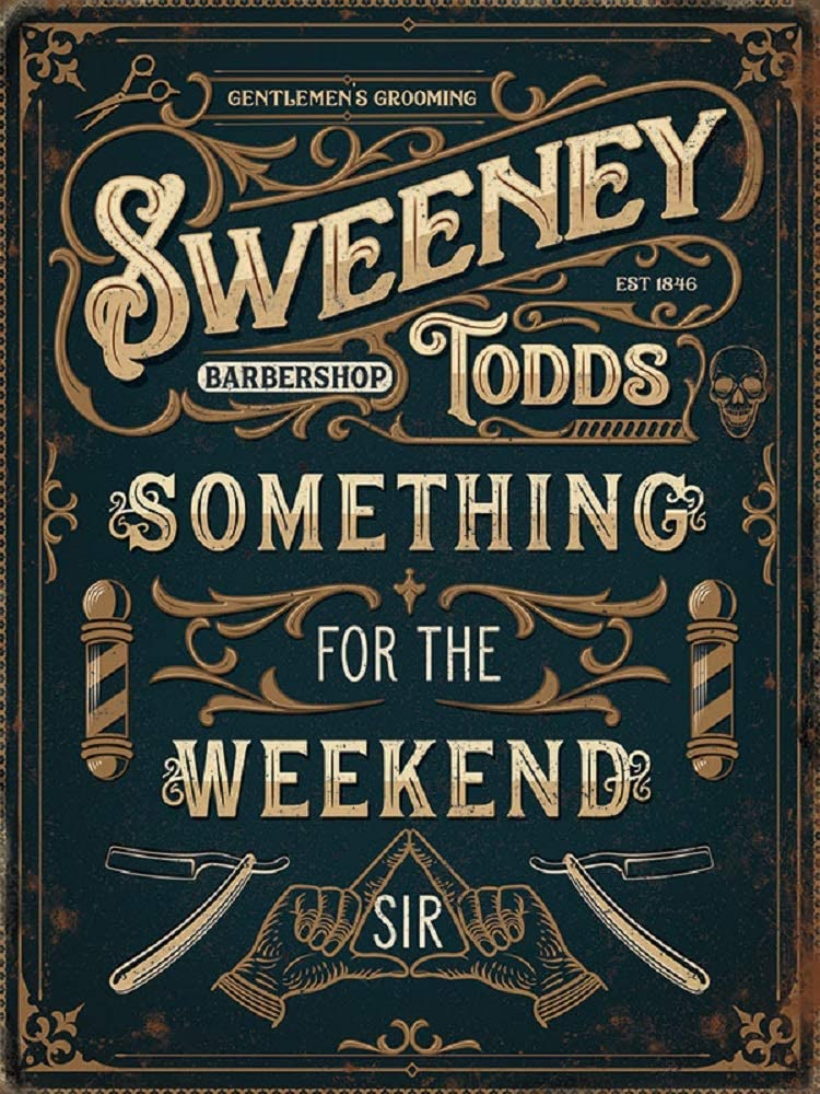 Sweeney Todds Barbershop Barbershop - Placa decorativa de acero para pared, 15 x 20 cm