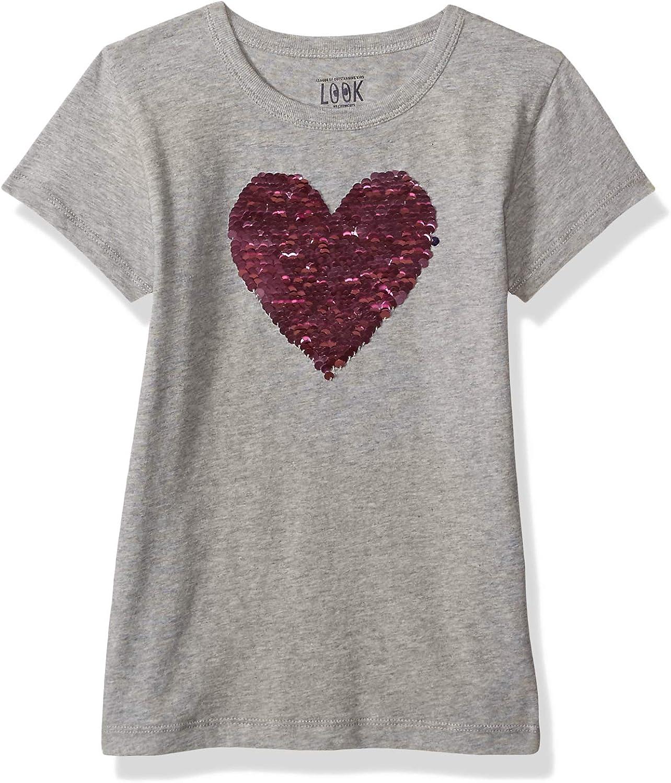 // J LOOK by crewcuts Girls Short Sleeve Flip Sequin Tee Crew Brand