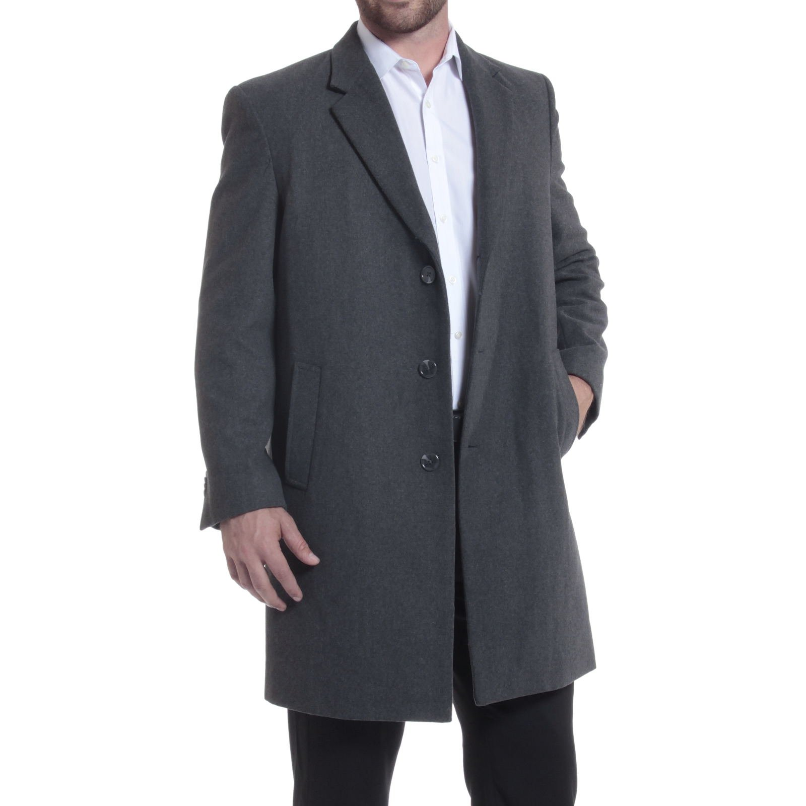 alpine swiss Luke Mens 3 Button Tailored Wool 37'' Walker Car Coat Gray Large by alpine swiss