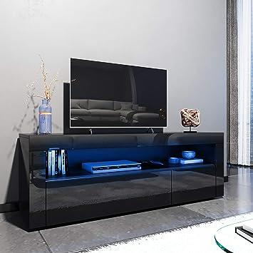 Elegante - Mueble de TV LED Blanco Brillante para salón y Dormitorio con Muebles de Almacenamiento para TV de 32 40 43 50 52 Pulgadas 4K Style D-1200x350x450mm Negro: Amazon.es: Electrónica