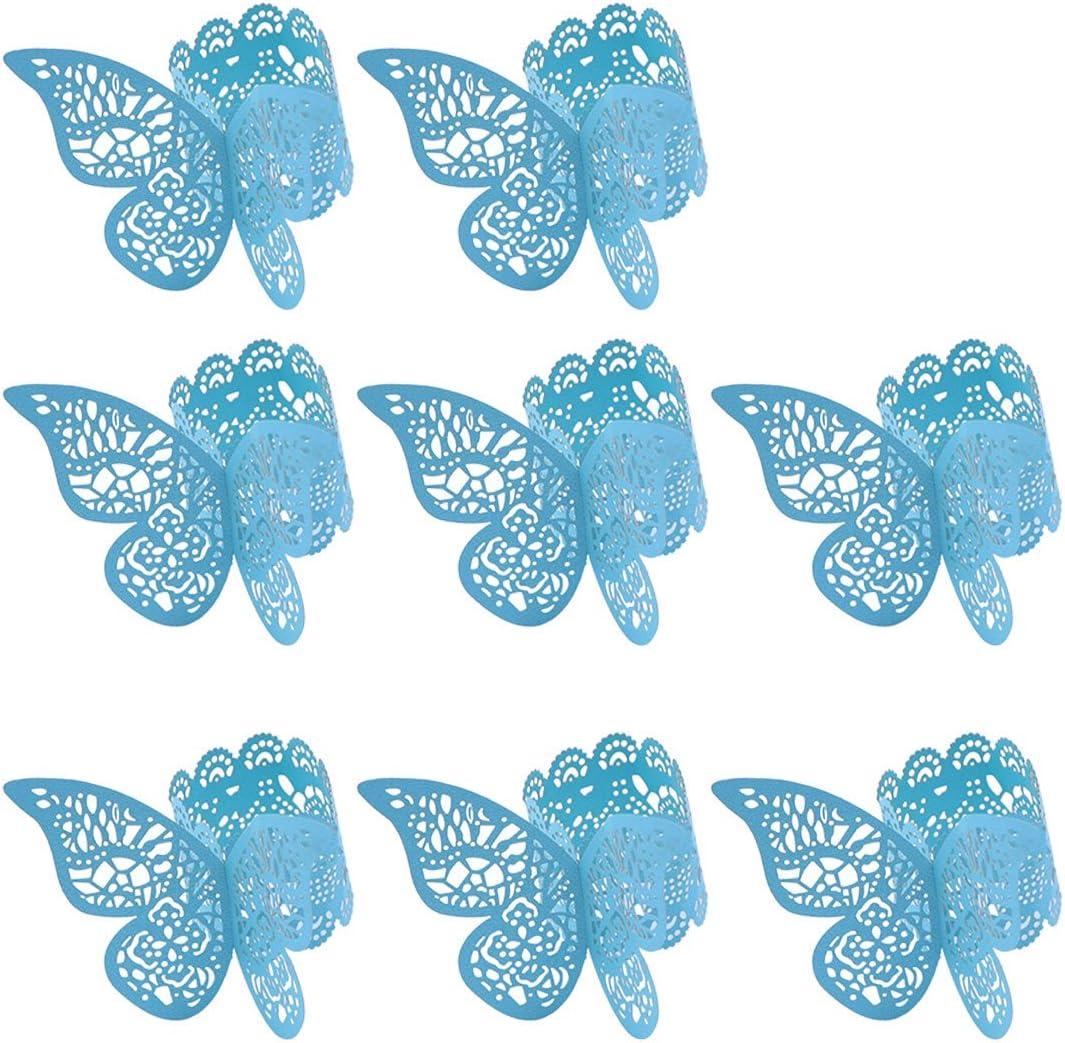 BESTOYARD Serviettenring Schmetterling Papier Himmelblau Tischdekoration Hochzeit 100 St/ücke