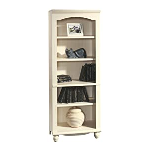 "Sauder 158085 Harbor View Library, L: 27.21"" x W: 17.48"" x H: 72.24"", Antiqued White"