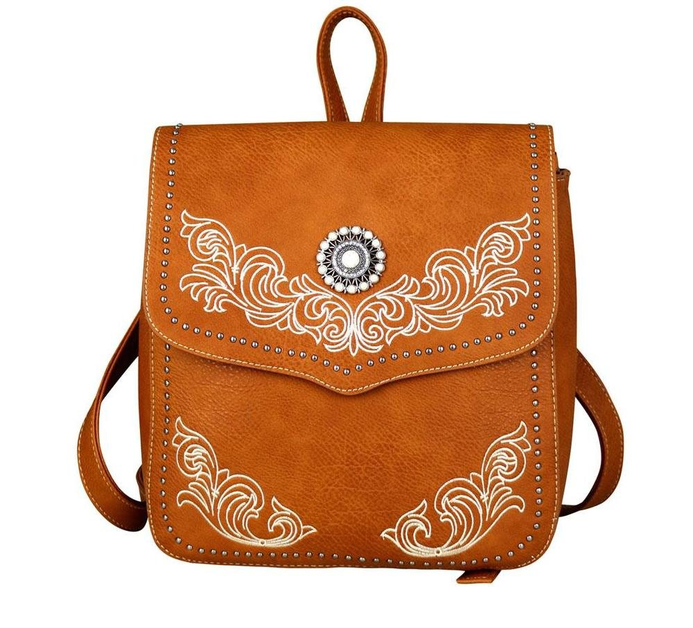 Embroidered Western Scroll Concho Backpack Purse (Brown)