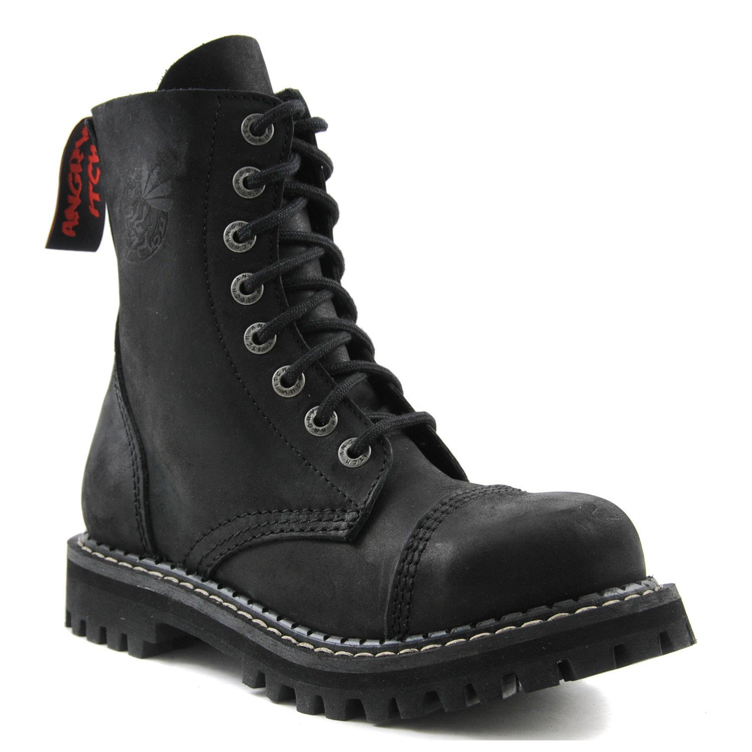 ANGRY ITCH 8-Loch Gothic Punk Army Ranger Armee Vintage Leder Schwarz Stiefel mit Stahlkappe 36-48 - Made in EU