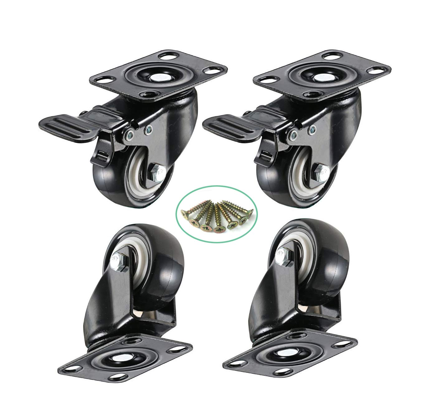 Low Profile Castor Wheel 2 inch Rubber Swivel Caster 360 Degree Swivel Furniture Wheel Set of 4 Capacity 390 lbs with Brakes with Screws