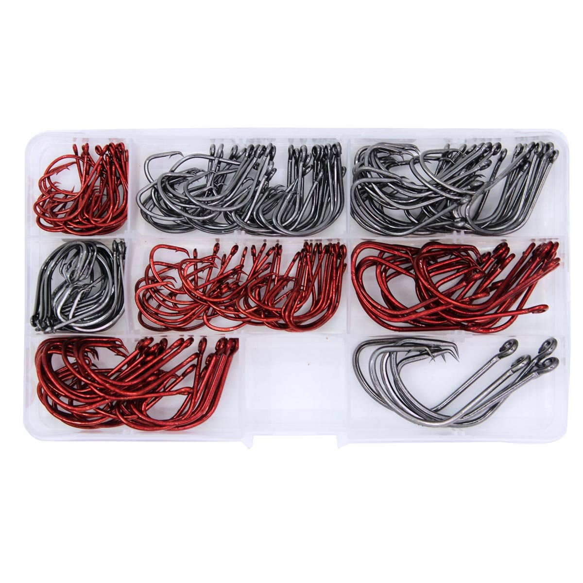 Wild.life® Lot 200pcs Sport Circle Hook Freshwater Saltwater High-carbon Steel Fishing Hooks Mix Size 7381