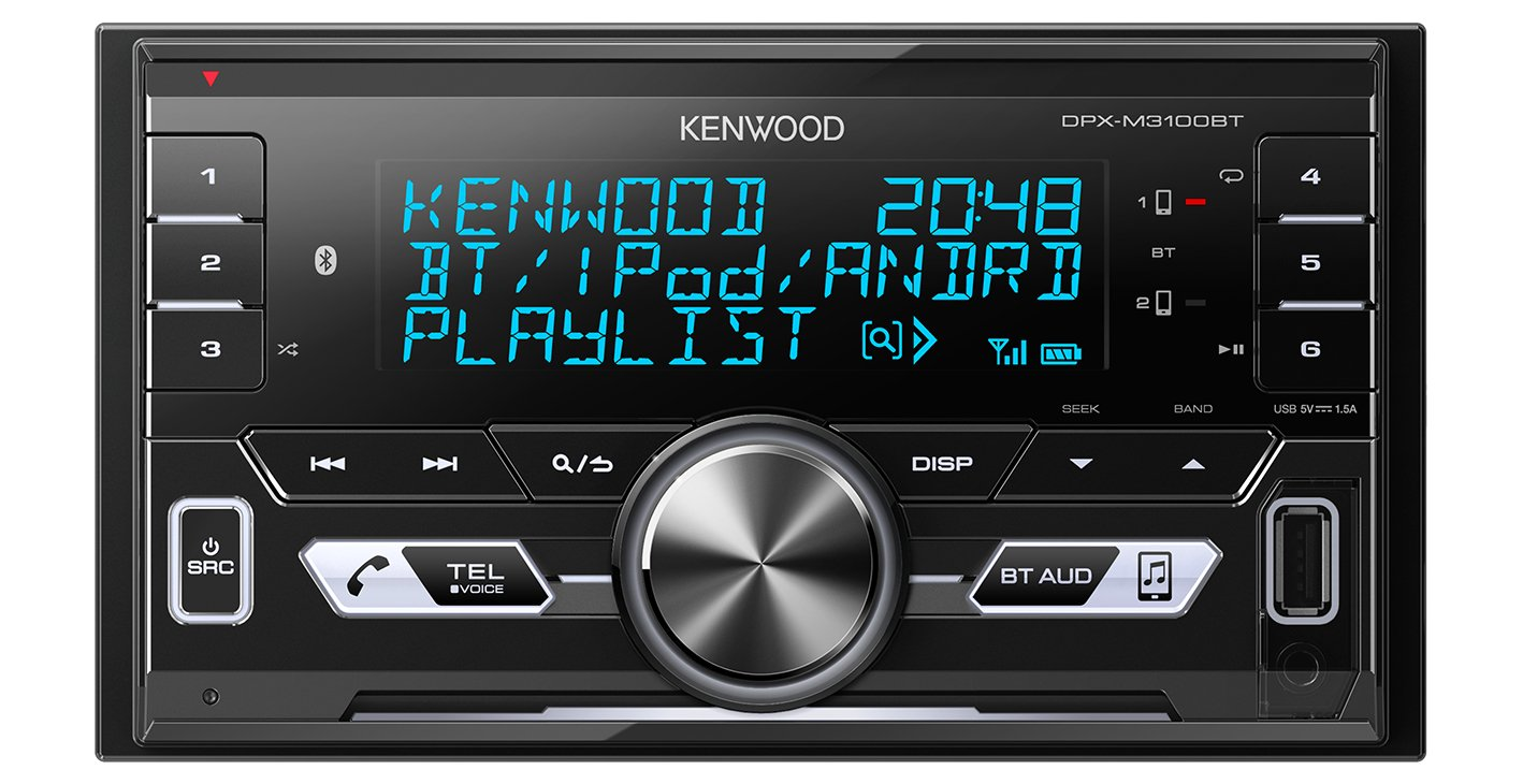 Kenwood Electronics DPX-M3100BT 50W Bluetooth Negro Receptor Multimedia para Coche FM,LW,MW, 87,5-108 MHz, MOSFET, 3 l/íneas, LCD, Negro Radio para Coche