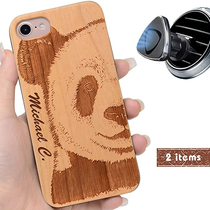 new arrival e4917 67e79 iProductsUS Customized Wood Phone Case Compatible with iPhone 8 Plus, 7  Plus, 6 Plus, 6s Plus and Magnetic Mount, Engraved Panda Face and Name, ...