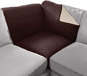 Sofa Shield Original Patent Pending Sofa Corner Sectional Slipcover, Many Colors, 30x30 Inch, Reversible Washable Furniture Protector with Straps, Sectional Slip Cover for Pet, Dogs, Chocolate Beige