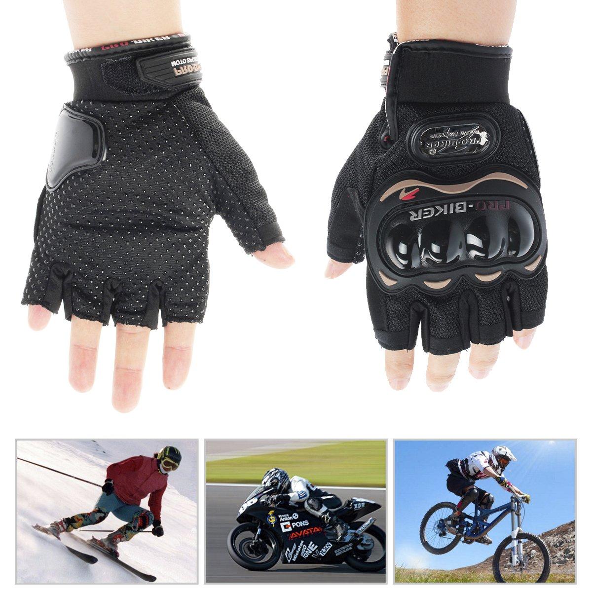 GES Men Outdoor Motorbike Gloves Guantes de ciclismo Motocicleta medio dedo Racing Motocross Guantes Azul, XXL