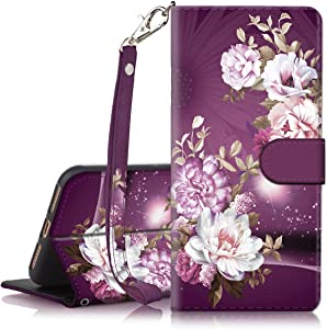 iPhone 7 Plus Case, iPhone 8 Plus Case, Hocase PU Leather Full Body Protective Case with Credit Card Holders, Wrist Strap, Magnetic Closure for iPhone 8 Plus/iPhone 7 Plus - Royal Purple/White Flowers