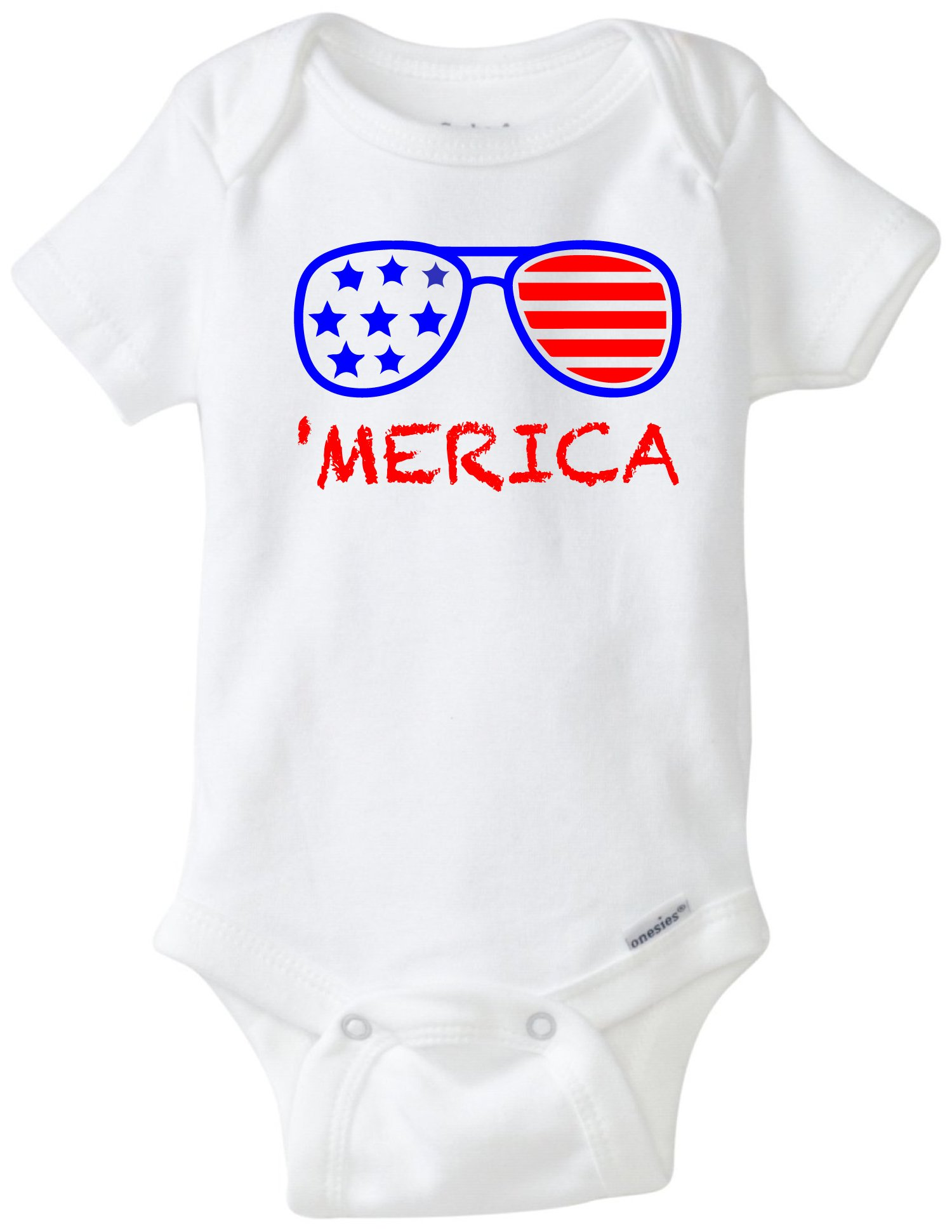 'Merica Sunglasses Patriotic 4th of July Funny Baby Onesie Blakenreag Baby Boy Girl Clothes Bodysuit (18 Month) by BLAKENREAG
