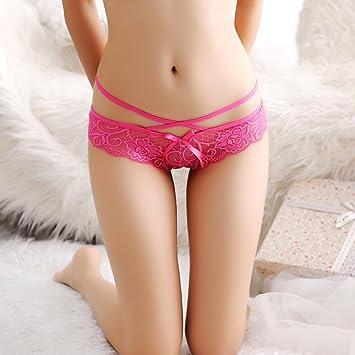 Ropa interior de encaje gasa cintura chica tanga sin costuras,Rosa Roja