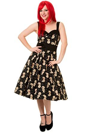 Banned Voodoo Dolls Distractions Goth Emo Alternative Midi Prom Dress (UK 22-TAG SIZE
