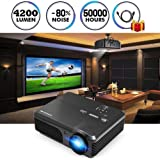 LCD Projecteur 1080 P Full HD 4200 Lumens WXGA, projecteurs Home Cinéma avec HDMI USB VGA AV Sortie Audio pour iPhone iPad PC Ordinateur Android Téléphone Tablet DVD TV(Manuel Anglais et UK Plug)