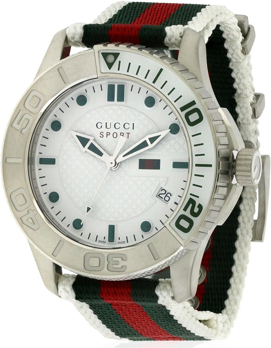 Gucci G Timeless Sport - Reloj de Cuarzo para Hombre, con Correa de Nailon, Color Blanco